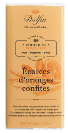 Tablette, noir aux écorces d'orange confites